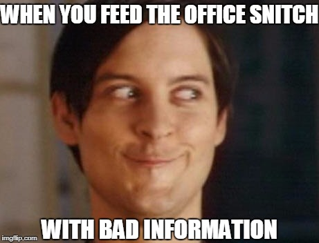 Office propaganda | WHEN YOU FEED THE OFFICE SNITCH WITH BAD INFORMATION | image tagged in memes,spiderman peter parker,hilarious,funny memes,funny,too funny | made w/ Imgflip meme maker