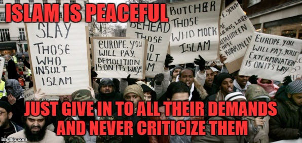 Muslim protesters | ISLAM IS PEACEFUL JUST GIVE IN TO ALL THEIR DEMANDS AND NEVER CRITICIZE THEM | image tagged in muslim protesters | made w/ Imgflip meme maker