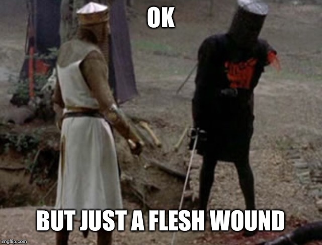OK BUT JUST A FLESH WOUND | made w/ Imgflip meme maker