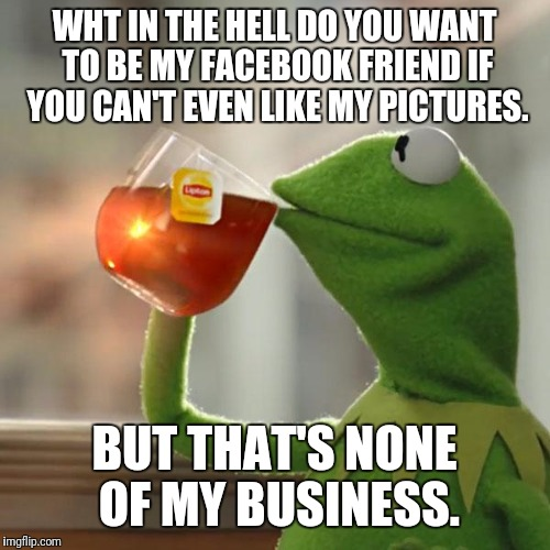 But Thats None Of My Business Meme | WHT IN THE HELL DO YOU WANT TO BE MY FACEBOOK FRIEND IF YOU CAN'T EVEN LIKE MY PICTURES. BUT THAT'S NONE OF MY BUSINESS. | image tagged in memes,but thats none of my business,kermit the frog | made w/ Imgflip meme maker