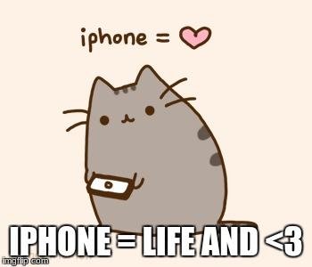 no i phone BIG problem | IPHONE = LIFE AND <3 | image tagged in pusheen | made w/ Imgflip meme maker