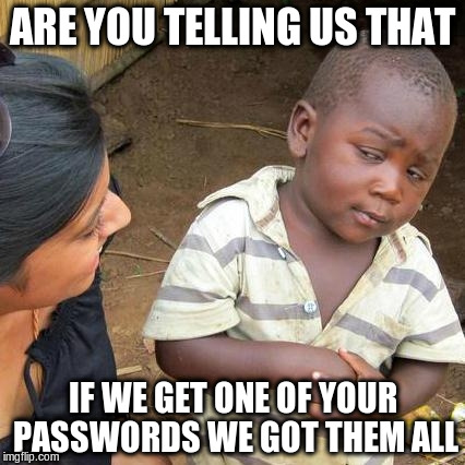 Third World Skeptical Kid Meme | ARE YOU TELLING US THAT IF WE GET ONE OF YOUR PASSWORDS WE GOT THEM ALL | image tagged in memes,third world skeptical kid | made w/ Imgflip meme maker