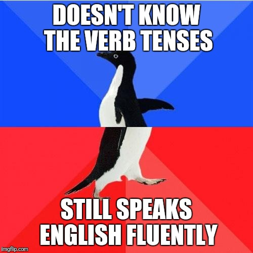 Socially Awkward Awesome Penguin Meme | DOESN'T KNOW THE VERB TENSES STILL SPEAKS ENGLISH FLUENTLY | image tagged in memes,socially awkward awesome penguin | made w/ Imgflip meme maker