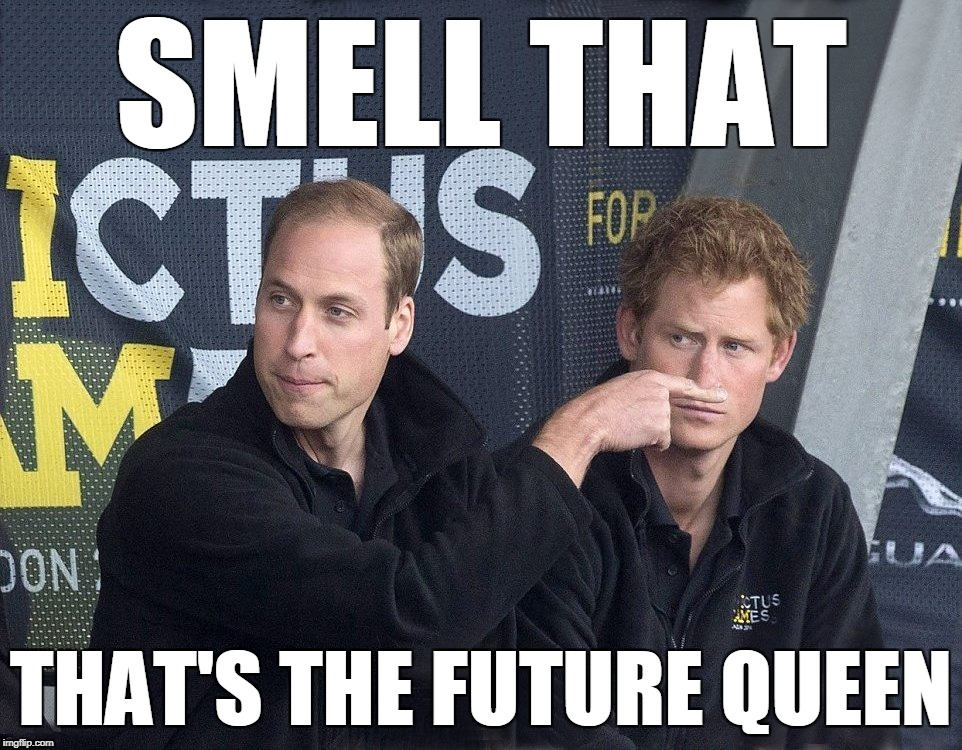 Future queen | SMELL THAT THAT'S THE FUTURE QUEEN | image tagged in better template | made w/ Imgflip meme maker