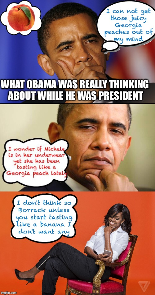 What obama really was thinking about during is presidency | WHAT OBAMA WAS REALLY THINKING ABOUT WHILE HE WAS PRESIDENT | image tagged in obama,michelle obama,barack obama,peaches,banana,sexual favors | made w/ Imgflip meme maker