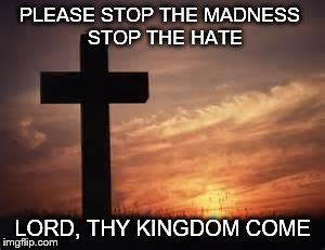 Cross | PLEASE STOP THE MADNESS  STOP THE HATE LORD, THY KINGDOM COME | image tagged in cross | made w/ Imgflip meme maker