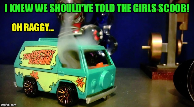 Hot wheels mystery machine | I KNEW WE SHOULD'VE TOLD THE GIRLS SCOOB! OH RAGGY... | image tagged in hot wheels mystery machine | made w/ Imgflip meme maker