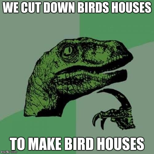 Philosoraptor Meme | WE CUT DOWN BIRDS HOUSES TO MAKE BIRD HOUSES | image tagged in memes,philosoraptor | made w/ Imgflip meme maker