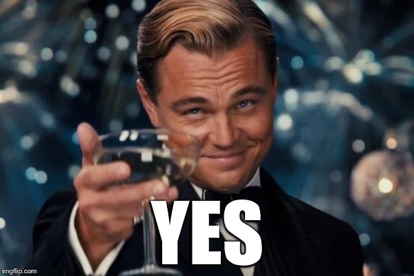 Leonardo Dicaprio Cheers Meme | YES | image tagged in memes,leonardo dicaprio cheers | made w/ Imgflip meme maker