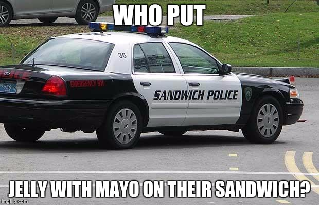 Sandwich Police | WHO PUT JELLY WITH MAYO ON THEIR SANDWICH? | image tagged in sandwich police | made w/ Imgflip meme maker