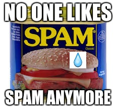 have a heart | NO ONE LIKES SPAM ANYMORE | image tagged in spam,sad,upset,ham | made w/ Imgflip meme maker