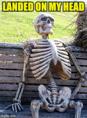 Waiting Skeleton Meme | LANDED ON MY HEAD | image tagged in memes,waiting skeleton | made w/ Imgflip meme maker
