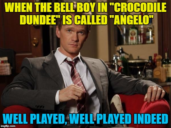 "Angelo Dundee was Muhammad Ali's trainer... :) | WHEN THE BELL BOY IN ""CROCODILE DUNDEE"" IS CALLED ""ANGELO"" WELL PLAYED, WELL PLAYED INDEED 