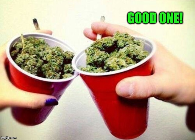 Stoner cheers  | GOOD ONE! | image tagged in stoner cheers | made w/ Imgflip meme maker