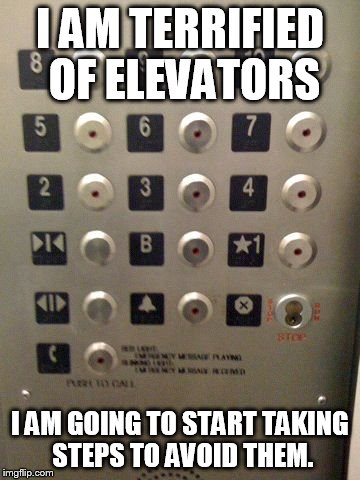 Bad Dad Joke - Elevator | I AM TERRIFIED OF ELEVATORS I AM GOING TO START TAKING STEPS TO AVOID THEM. | image tagged in elevator buttons,memes,funny,dad joke,elevator | made w/ Imgflip meme maker