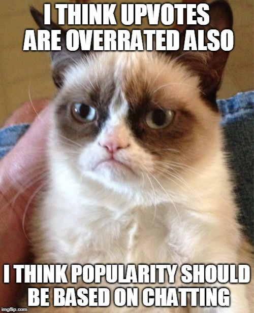 Grumpy Cat Meme | I THINK UPVOTES ARE OVERRATED ALSO I THINK POPULARITY SHOULD BE BASED ON CHATTING | image tagged in memes,grumpy cat | made w/ Imgflip meme maker