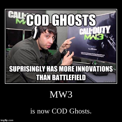 If you're gonna praise something, make sure you praise what your actually talking about. | MW3 | is now COD Ghosts. | image tagged in funny,demotivationals,call of duty,you're doing it wrong,video games | made w/ Imgflip demotivational maker