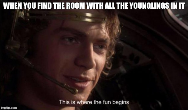 The fun begins | WHEN YOU FIND THE ROOM WITH ALL THE YOUNGLINGS IN IT | image tagged in star wars | made w/ Imgflip meme maker