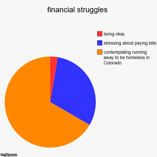 financial struggles | contemplating running away to be homeless in Colorado, stressing about paying bills, being okay | image tagged in funny,pie charts | made w/ Imgflip pie chart maker