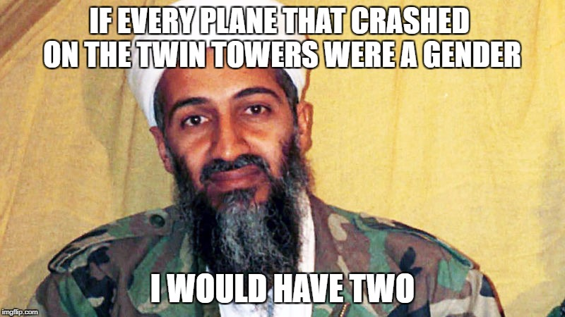 Osama Been Landin | IF EVERY PLANE THAT CRASHED ON THE TWIN TOWERS WERE A GENDER I WOULD HAVE TWO | image tagged in meme,offensive,9/11,osama bin laden,2 genders,plane | made w/ Imgflip meme maker