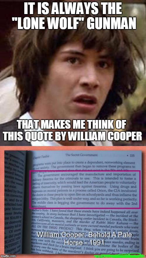 "IT IS ALWAYS THE ""LONE WOLF"" GUNMAN THAT MAKES ME THINK OF THIS QUOTE BY WILLIAM COOPER 