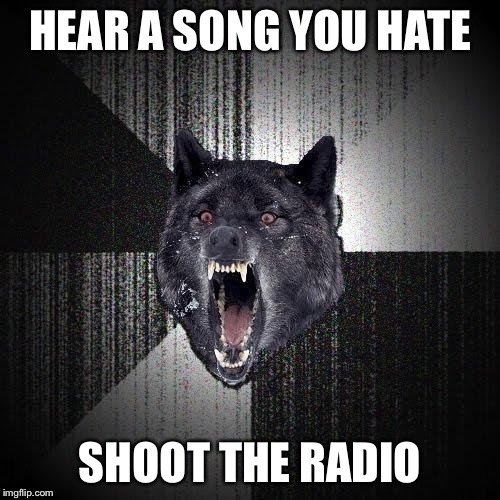 Insanity Wolf Meme | HEAR A SONG YOU HATE SHOOT THE RADIO | image tagged in memes,insanity wolf | made w/ Imgflip meme maker