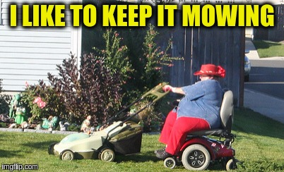 Nothing is too hard if you're determined enough | I LIKE TO KEEP IT MOWING | image tagged in memes,funny,wheelchair,lawnmower,murica,fat woman | made w/ Imgflip meme maker