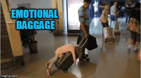 Emotional baggage level - Parent on a Plane | EMOTIONAL BAGGAGE | image tagged in memes,parenting,kids,traveling,flying,emotional | made w/ Imgflip meme maker