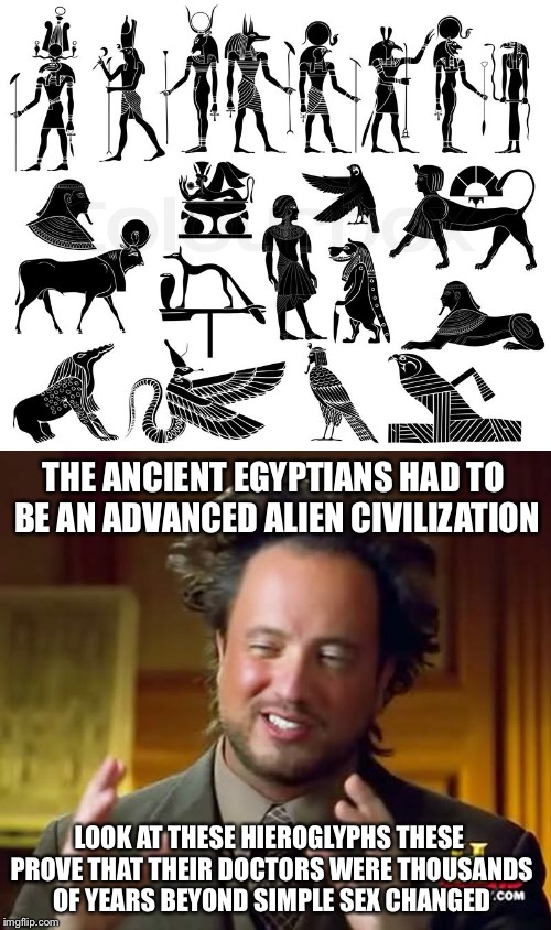 THE ANCIENT EGYPTIANS HAD TO BE AN ADVANCED ALIEN CIVILIZATION LOOK AT THESE HIEROGLYPHS THESE PROVE THAT THEIR DOCTORS WERE THOUSANDS OF YE | made w/ Imgflip meme maker