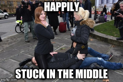 HAPPILY STUCK IN THE MIDDLE | made w/ Imgflip meme maker