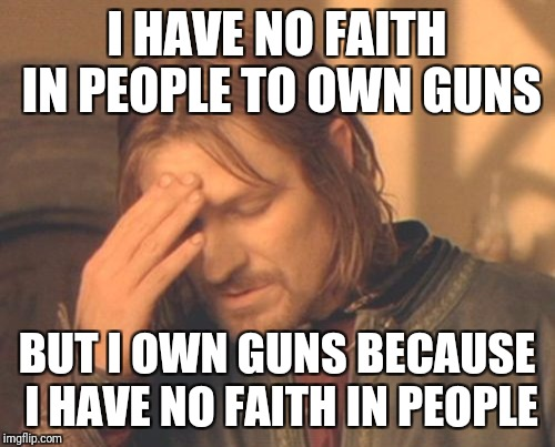 Frustrated Boromir Meme | I HAVE NO FAITH IN PEOPLE TO OWN GUNS BUT I OWN GUNS BECAUSE I HAVE NO FAITH IN PEOPLE | image tagged in memes,frustrated boromir | made w/ Imgflip meme maker