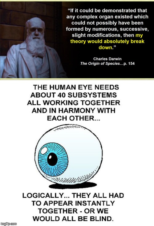 image tagged in darwin,evolution,eye,irreducible complexity,complex organ,origin of species | made w/ Imgflip meme maker