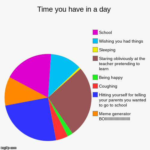 Time you have in a day | Meme generator BOIIIIIIIIIIIIIIIIIIIII, Hitting yourself for telling your parents you wanted to go to school, Cough | image tagged in funny,pie charts | made w/ Imgflip pie chart maker