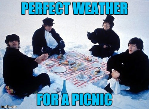Canadian picnic | PERFECT WEATHER FOR A PICNIC | image tagged in canadian picnic | made w/ Imgflip meme maker