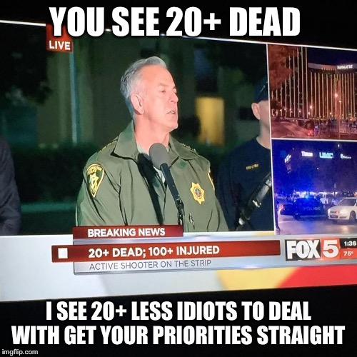 YOU SEE 20+ DEAD I SEE 20+ LESS IDIOTS TO DEAL WITH GET YOUR PRIORITIES STRAIGHT | image tagged in stephen paddock,memes,funny | made w/ Imgflip meme maker