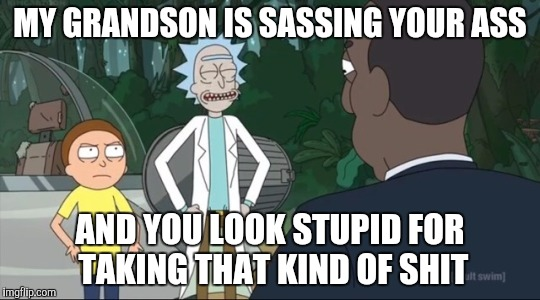 Morty sasses the President | MY GRANDSON IS SASSING YOUR ASS AND YOU LOOK STUPID FOR TAKING THAT KIND OF SHIT | image tagged in rick and morty,rickandmorty,rick sanchez,rick and morty get schwifty,rick and morty inter-dimensional cable | made w/ Imgflip meme maker