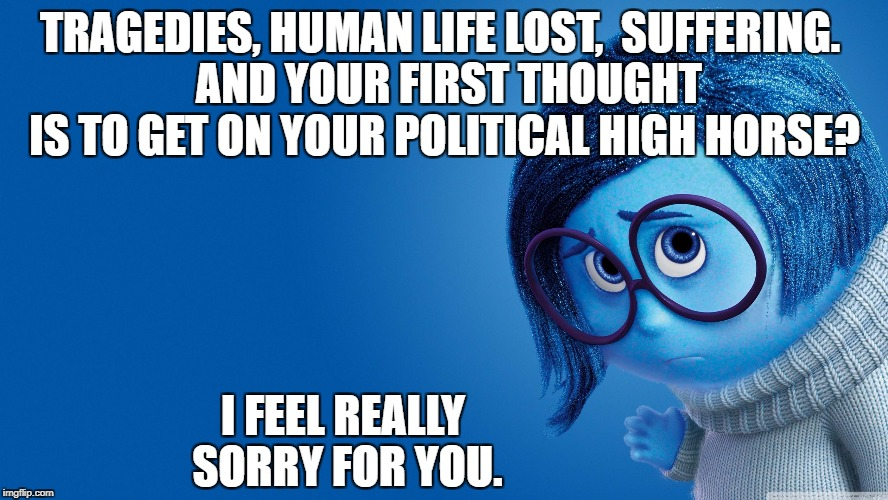Sadness: People Politicizing Disasters and Brutality. | TRAGEDIES, HUMAN LIFE LOST,  SUFFERING.  AND YOUR FIRST THOUGHT IS TO GET ON YOUR POLITICAL HIGH HORSE? I FEEL REALLY SORRY FOR YOU. | image tagged in sadness,politics,guns,nra,trump,liberal logic | made w/ Imgflip meme maker