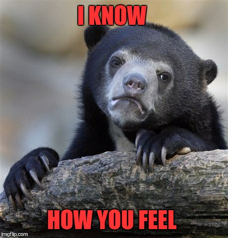 Confession Bear Meme | I KNOW HOW YOU FEEL | image tagged in memes,confession bear | made w/ Imgflip meme maker