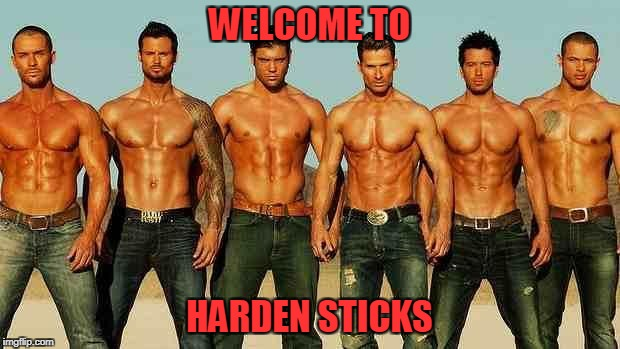 Male strippers | WELCOME TO HARDEN STICKS | image tagged in male strippers | made w/ Imgflip meme maker