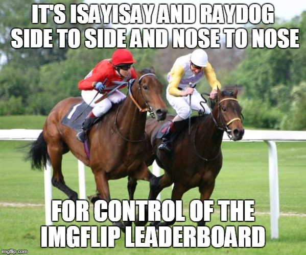 How to describe two imgflip uses who are racing to get to the top | IT'S ISAYISAY AND RAYDOG SIDE TO SIDE AND NOSE TO NOSE FOR CONTROL OF THE IMGFLIP LEADERBOARD | image tagged in two horses racing,funny,isayisay,raydog,imgflip users,meme wars | made w/ Imgflip meme maker