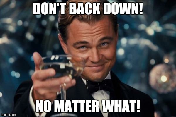 Leonardo Dicaprio Cheers Meme | DON'T BACK DOWN! NO MATTER WHAT! | image tagged in memes,leonardo dicaprio cheers | made w/ Imgflip meme maker