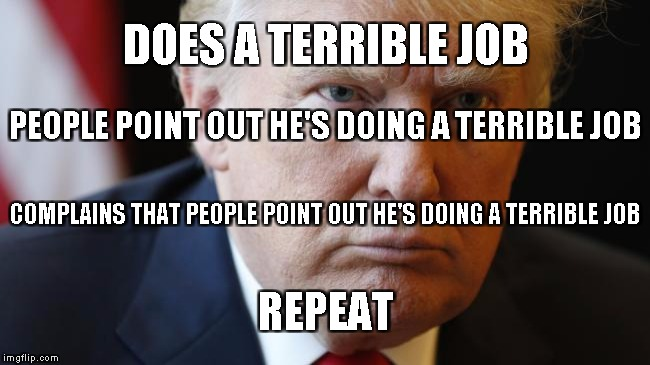 DOES A TERRIBLE JOB REPEAT PEOPLE POINT OUT HE'S DOING A TERRIBLE JOB COMPLAINS THAT PEOPLE POINT OUT HE'S DOING A TERRIBLE JOB | image tagged in trump | made w/ Imgflip meme maker