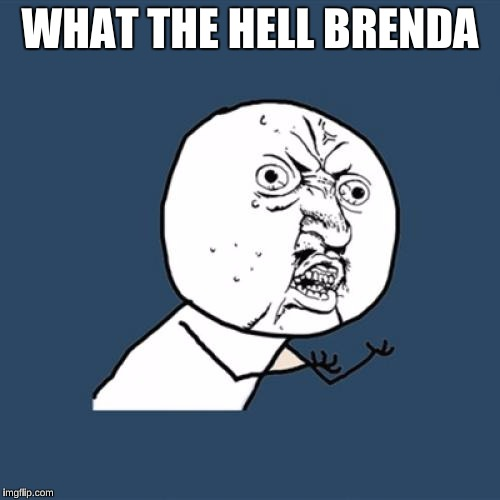Y U No Meme | WHAT THE HELL BRENDA | image tagged in memes,y u no | made w/ Imgflip meme maker