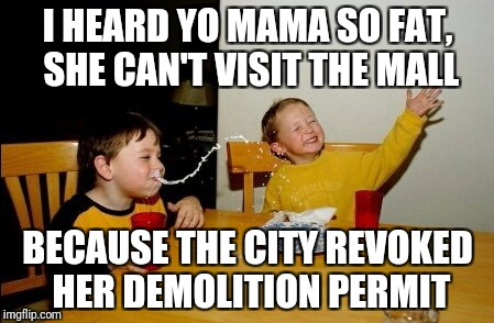 Yo Mamas So Fat Meme | I HEARD YO MAMA SO FAT, SHE CAN'T VISIT THE MALL BECAUSE THE CITY REVOKED HER DEMOLITION PERMIT | image tagged in memes,yo mamas so fat | made w/ Imgflip meme maker
