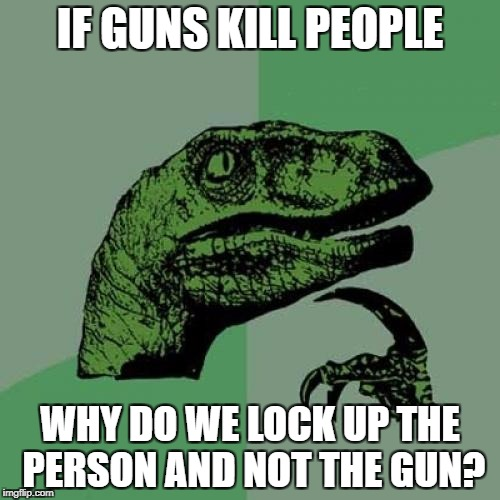 Hmmmm | IF GUNS KILL PEOPLE WHY DO WE LOCK UP THE PERSON AND NOT THE GUN? | image tagged in memes,philosoraptor,gun control,guns kill people | made w/ Imgflip meme maker