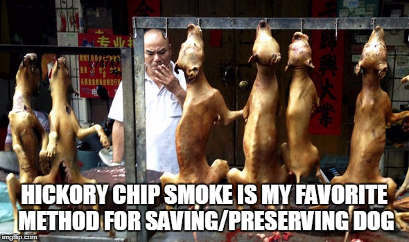HICKORY CHIP SMOKE IS MY FAVORITE METHOD FOR SAVING/PRESERVING DOG | made w/ Imgflip meme maker