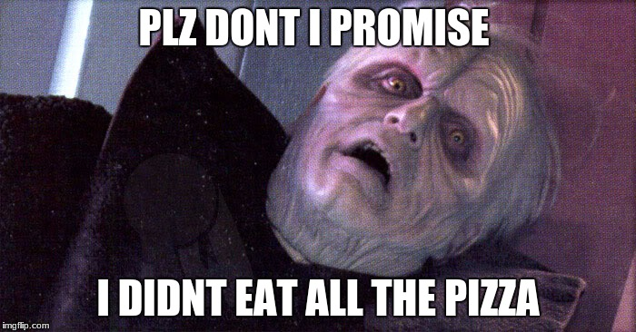 Palpatine please dont | PLZ DONT I PROMISE I DIDNT EAT ALL THE PIZZA | image tagged in palpatine please dont | made w/ Imgflip meme maker