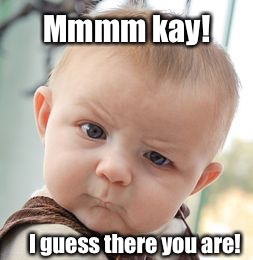 Skeptical Baby Meme | Mmmm kay! I guess there you are! | image tagged in memes,skeptical baby | made w/ Imgflip meme maker
