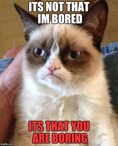 Grumpy Cat Meme | ITS NOT THAT IM BORED ITS THAT YOU ARE BORING | image tagged in memes,grumpy cat | made w/ Imgflip meme maker