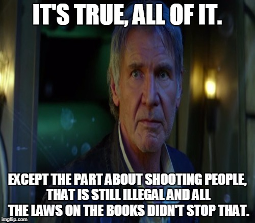 IT'S TRUE, ALL OF IT. EXCEPT THE PART ABOUT SHOOTING PEOPLE, THAT IS STILL ILLEGAL AND ALL THE LAWS ON THE BOOKS DIDN'T STOP THAT. | made w/ Imgflip meme maker